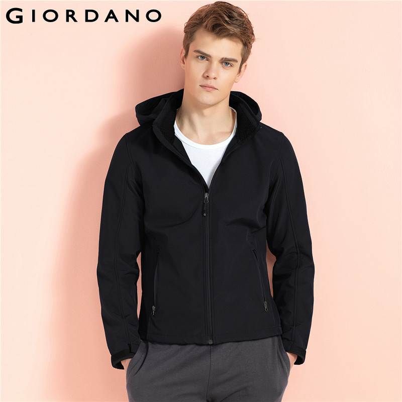 Giordano Men Hooded Jacket Mens Fleece Lined Windbreaker