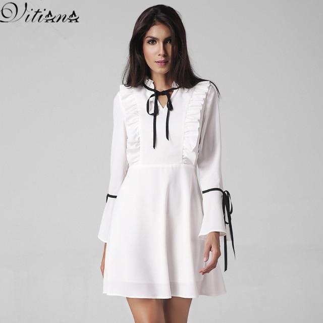 VITIANA Brand Women 2017 Spring White Short Casual Dress Ladies Elegant Long Sleeve Sexy Mini White Party Dresses