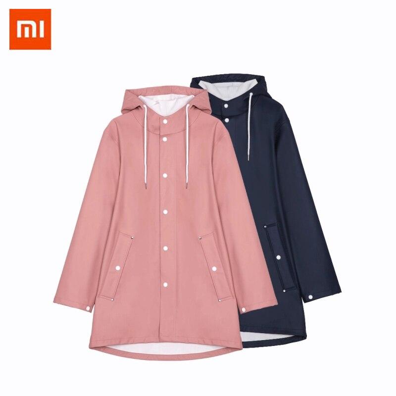 Xiaomi manteau de pluie extérieur imperméable imperméable à l'eau bande de réflexion imperméable femmes/hommes à capuche poncho de pluie couple vêtements de pluie