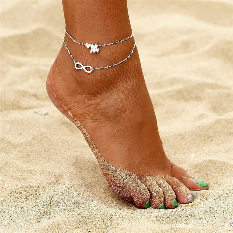 あなたはボヘミアン手紙ハートアンクレット女性レトロロープ無限アンクレットビーチブレスレットチェーン動物の足のジュエリー