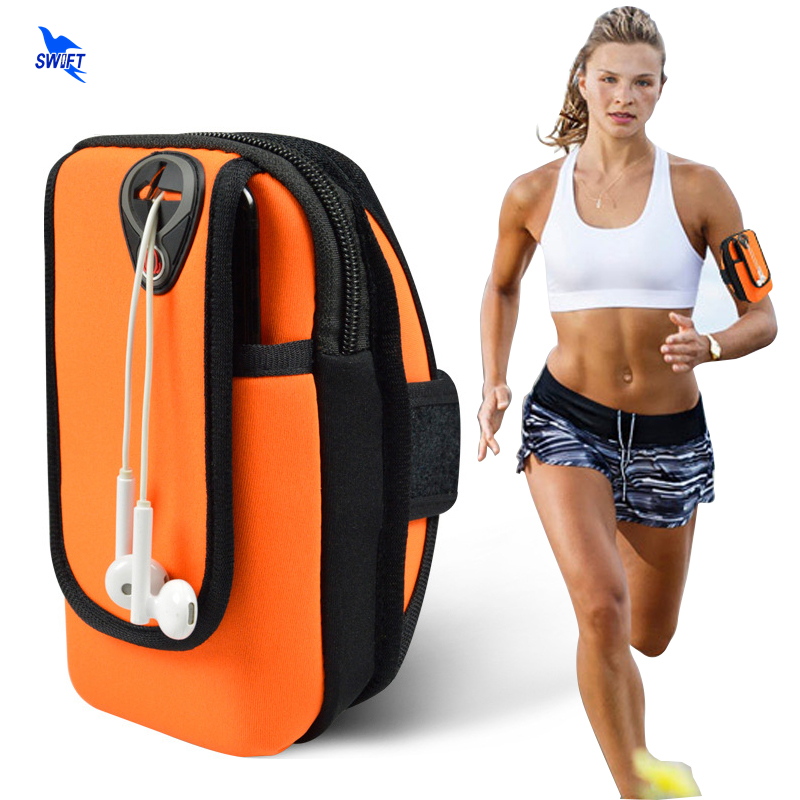 6 Inch Sports Jogging Gym Armband Running Bag Arm Wrist Band Mobile Phone Case Holder Bag Outdoor Waterproof Nylon Hand Bag