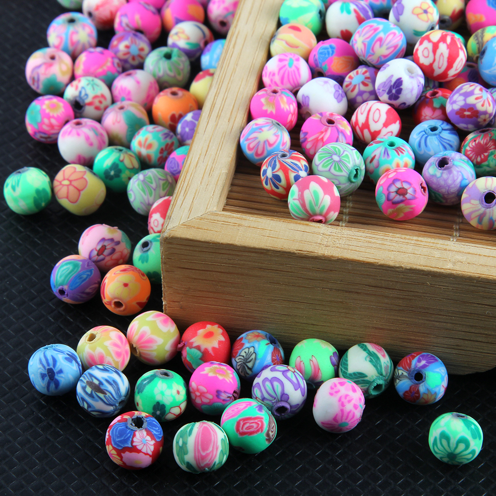 50 10mm Color Polymer Fimo Clay Round Balls Flower Loose Charm Beads Jewelry