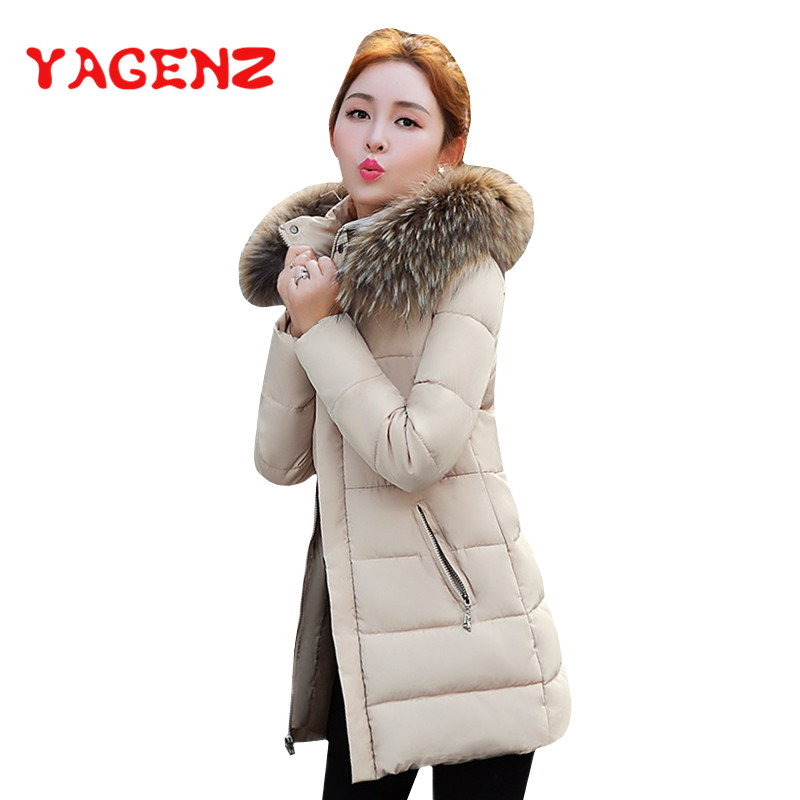YAGENZ Long   Parka   Outwear Winter Jacket Women Hooded Coat Fur Collar Down Jacket Plus size Female Thicken Cotton-padded Coat 170