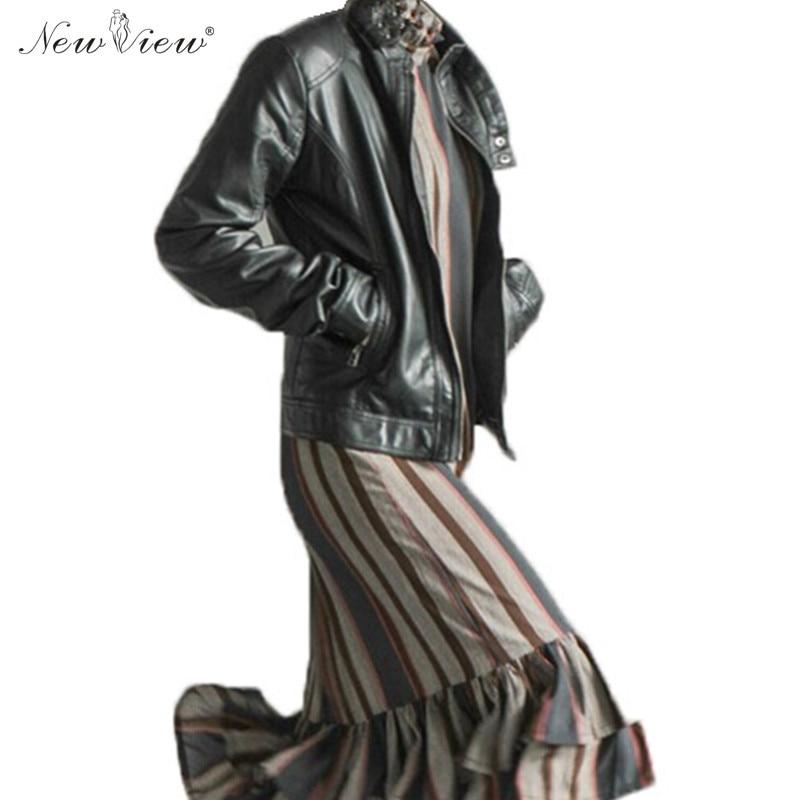 2017 Leather Women Jacket Fashion Plus Size 2XL 3XL 4XL Faux PU Leather Coats Female Motorcycle Overcoat Parka Jaqueta De Couro
