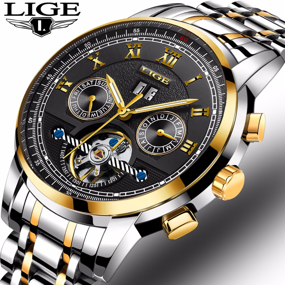 Top Brand Luxury LIGE Watches Mens Tourbillon Automatic mechanical Watch Fashion Waterproof Business Clcok Men Relogio Masculino lige top brand luxury tourbillon automatic mechanical watches reloj hombre men s business waterproof clcok men relogio masculino