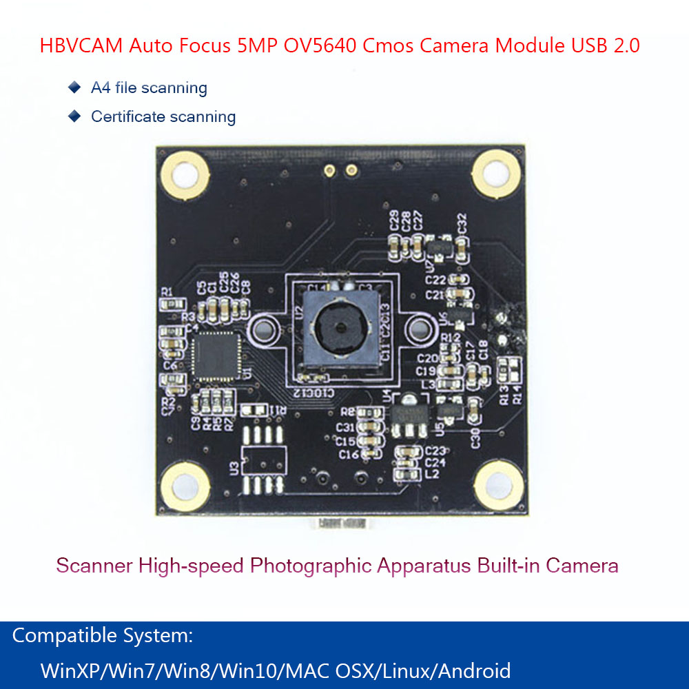 HBVCAM USB Camera Module Auto Focus 5MP OV5640 Cmos Sensors Canner 2.0 Cable