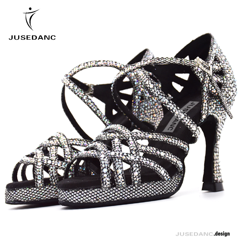 Latin Dance Shoes with Platform Jazz Shoes Dance Ballroom Shoes Girls Rhinestone High Heels Glitter Salsa Dancing Shoes