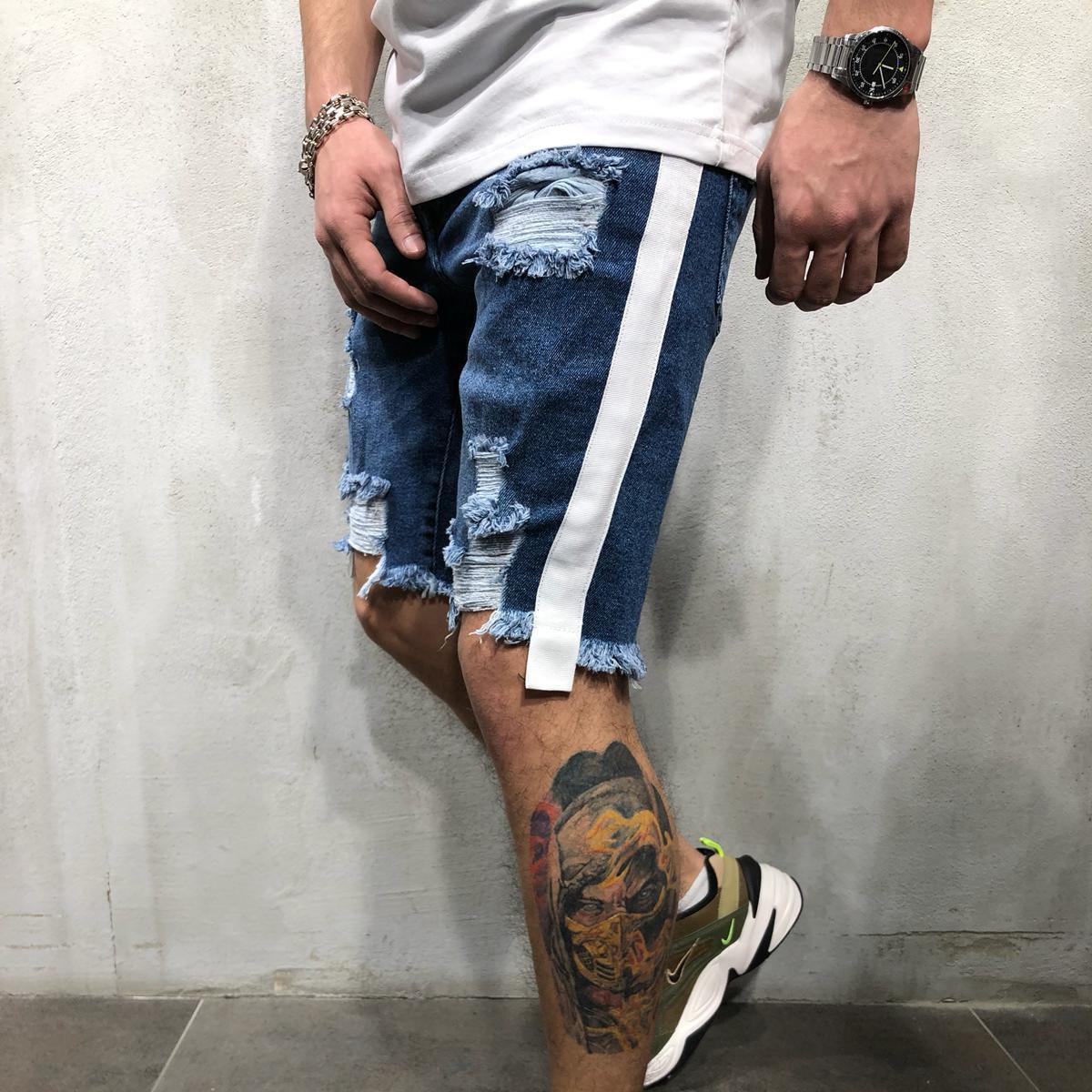 New Mens Skinny Short   Jeans   Rip Slim fit Stretch Denim Distress Frayed Biker Scratchted knee length   Jeans   pants