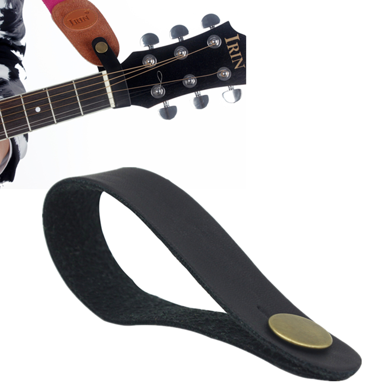 Black Leather Guitar Strap Holder Button Safe Lock For Head Mount
