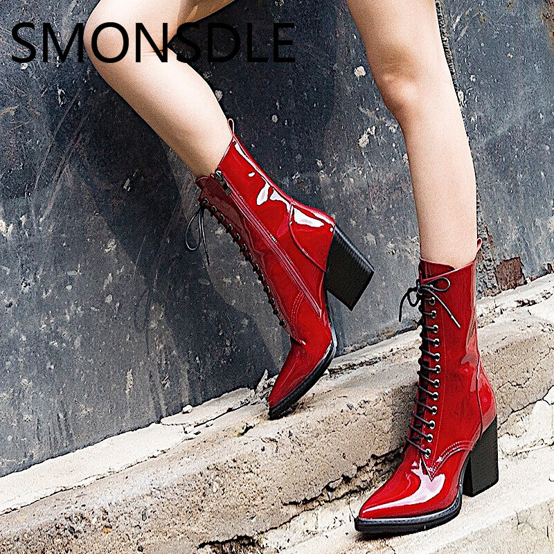 SMONSDLE 2018 New Black Red Leather Women Mid Boots Pointed Toe Side Zip Chunky Mid Heel Women Autumn Winter Boots Shoes Woman цена