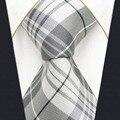Y22 Light Gray Checkes Fashion Brand New Extra Long Size Men Necktie Tie Hanky