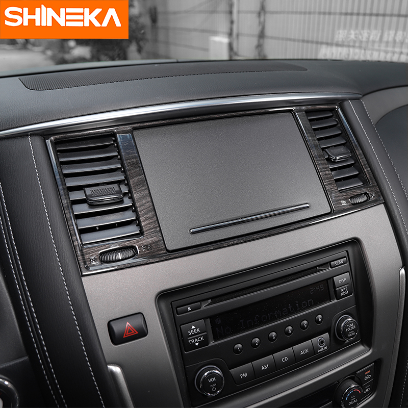 SHINEKA Car Styling Dashboard Panel AC Air Condition Vent Outlet Cover Trim Frame for Nissan Patrol Y62 2017 Car Accessories-in Interior Mouldings from Automobiles & Motorcycles    2