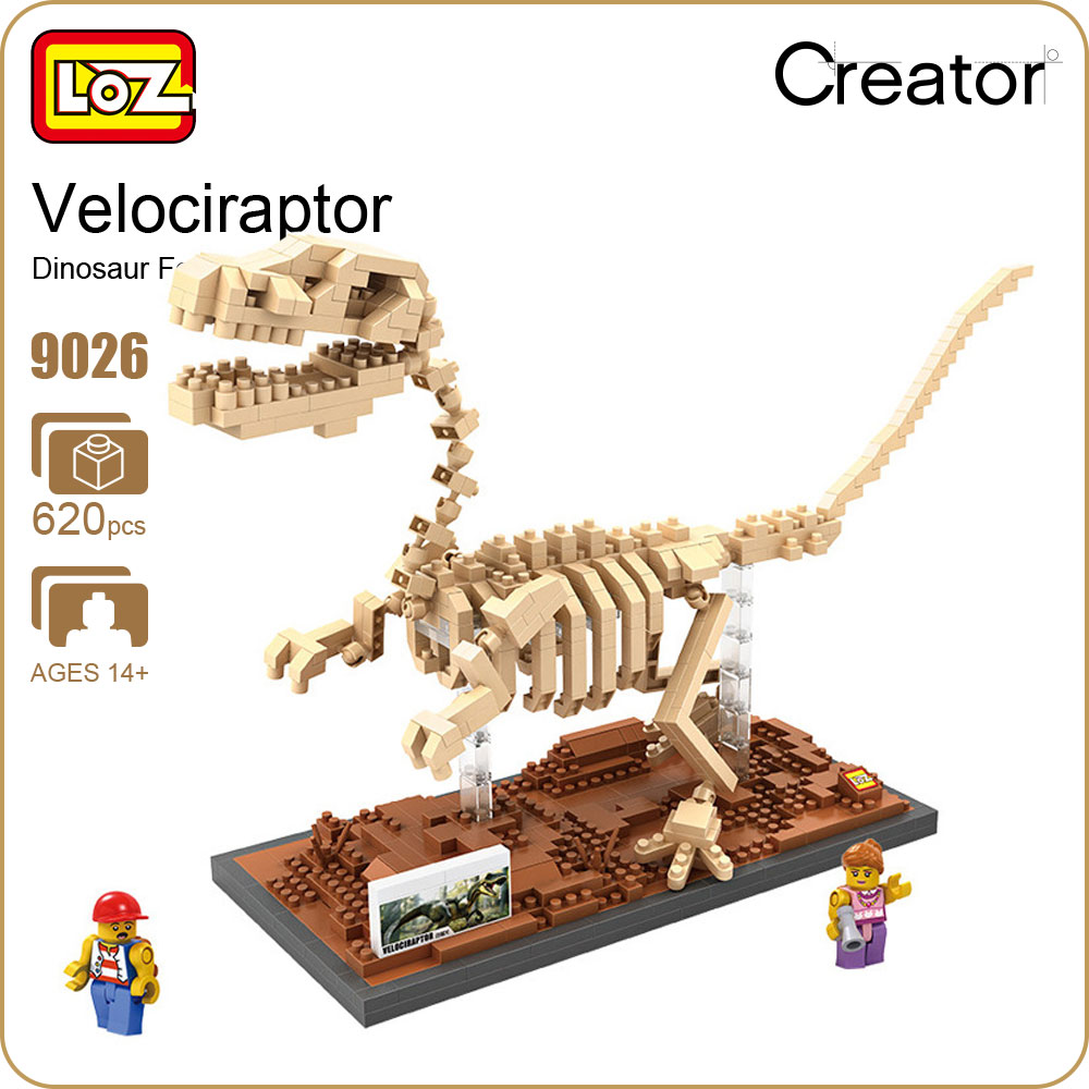 LOZ Diamond Blocks Fossil Dinosaur Jurassic Dinosaurus Toys Creator Velociraptor Model Figure Dinosaur Museum DIY Bricks 9026 loz mini diamond block world famous architecture financial center swfc shangha china city nanoblock model brick educational toys