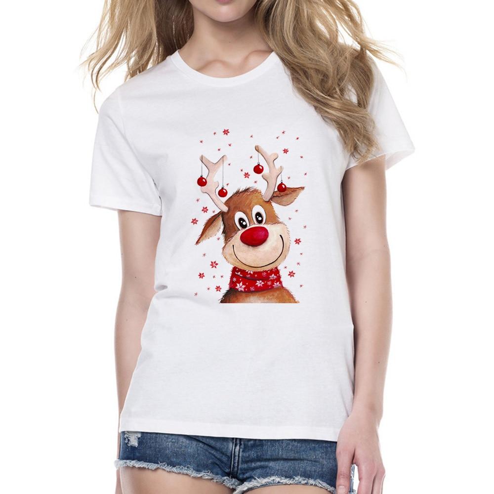 2018 New Fashion Christmas Deer Design   T     Shirts   Women Cute Animal Print   T  -  shirt   Harajuku Kawaii Christmas Tshirt Brand Tops Tee