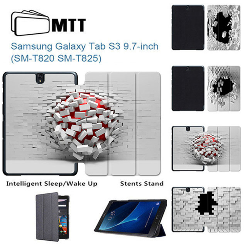 MTT Blasting Wallhole Print PU Leather Case for Samsung Galaxy Tab S3 9.7 inch T820 T825 ...