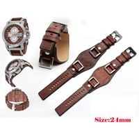 NEW Arrivals 24MM Brown retro cow leather For men Adaptable Military Watch and Mountaineering Watch+Free shipping