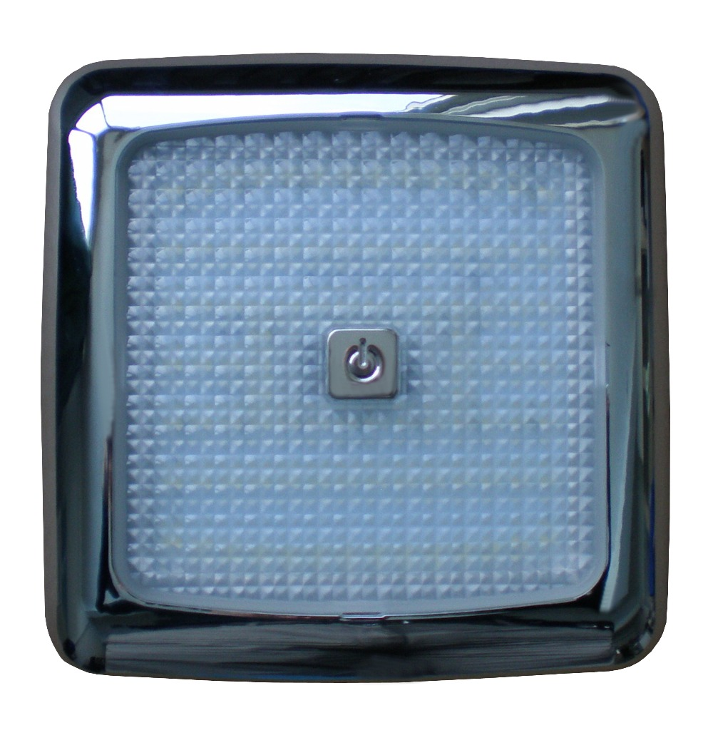 Chrome Trim Surface Mount 6 Square SMD LED  RV / Caravan / Work Truck Interior Light with Dimmable Touch Sensor Switch r410a 9000btu horizontal compressors rv rooftop caravan air conditioner
