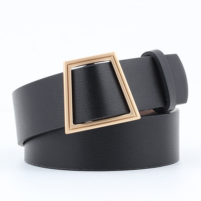 2019 Fashio Trapezoid Metal Smooth Buckle Wide Waist   Belt   for Woman Black Quality Pu   belt   for Dress Jeans Female Waistband   Belts