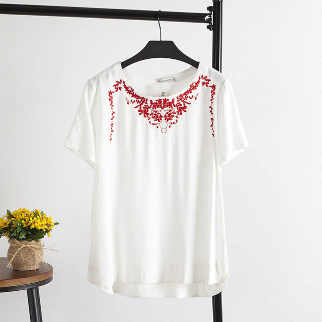 5 Colors Chinese Style Embroidery Women T-shirt Plus Size 4XL Casual Loose Short Sleeve Summer Tops KK1285