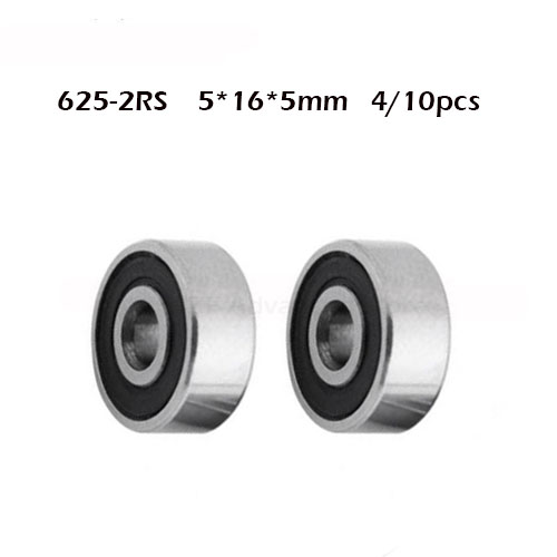 625RS Bearing ABEC-1 ( 4/10 PCS ) 5*16*5 Mm Miniature Sealed 625-2RS Ball Bearings 625 2RS For VORON Mobius 3D Printer
