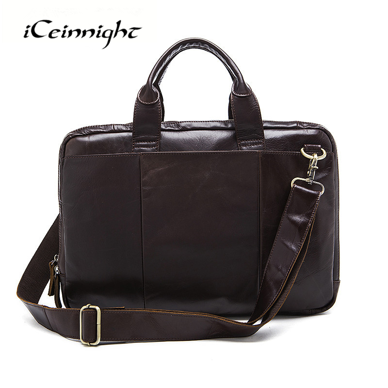 ФОТО iCeinnight Real Genuine Leather Men Bag Men's Briefcase Men Messenger Bags Business Laptop Briefcase Leather Men's Travel Bags