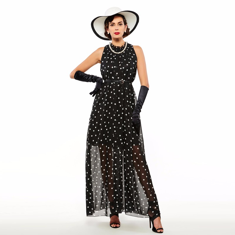 Sisjuly women maxi fashion polka dots maxi dress long casual summer beach chiffon party black dresses style elegant maxi dress 13