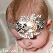 Baby Girl Toddler Elastic Headbands Rose Flower Crystal Children Headwear Hair Bands Accessories W227
