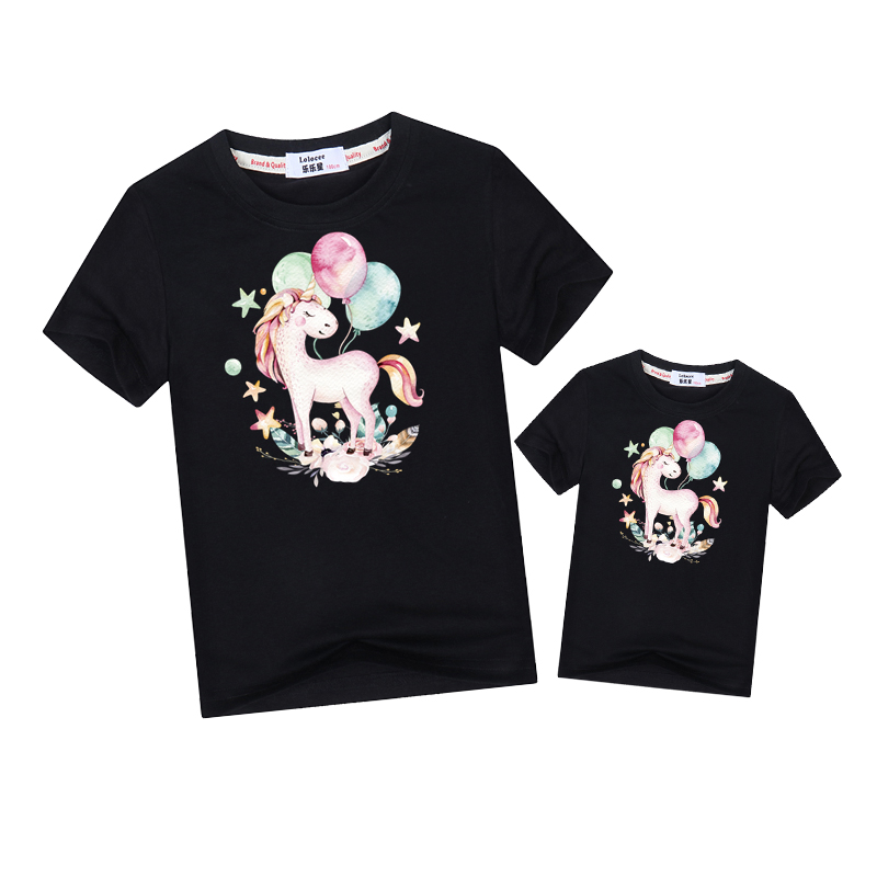 Summer mother kids t-shirt balloon unicorn fashion tops family matching clothes mom daughter match Outfits short sleeve baby tee