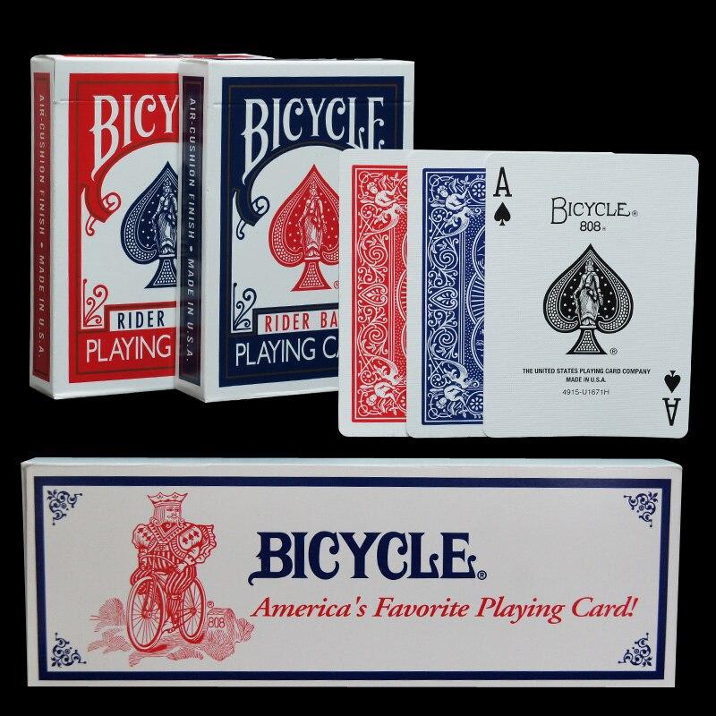 Une Douzaine 12 pcs D'origine Vélo Vélo Poker Magique Cartes À Jouer Régulièrement Rider Retour Standard Ponts Magie Truc Rouge Bleu Poker
