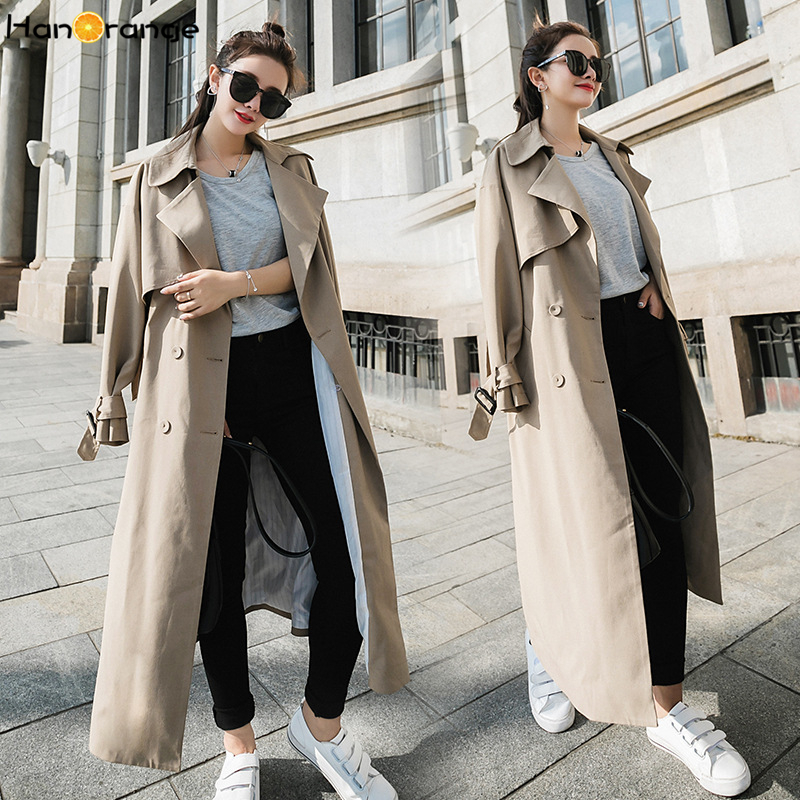 HanOrange 2018 Autumn Capable Outfit Double-breasted Loose Over-the-knee Super Long Women Windbreaker Trench Coat Light Camel