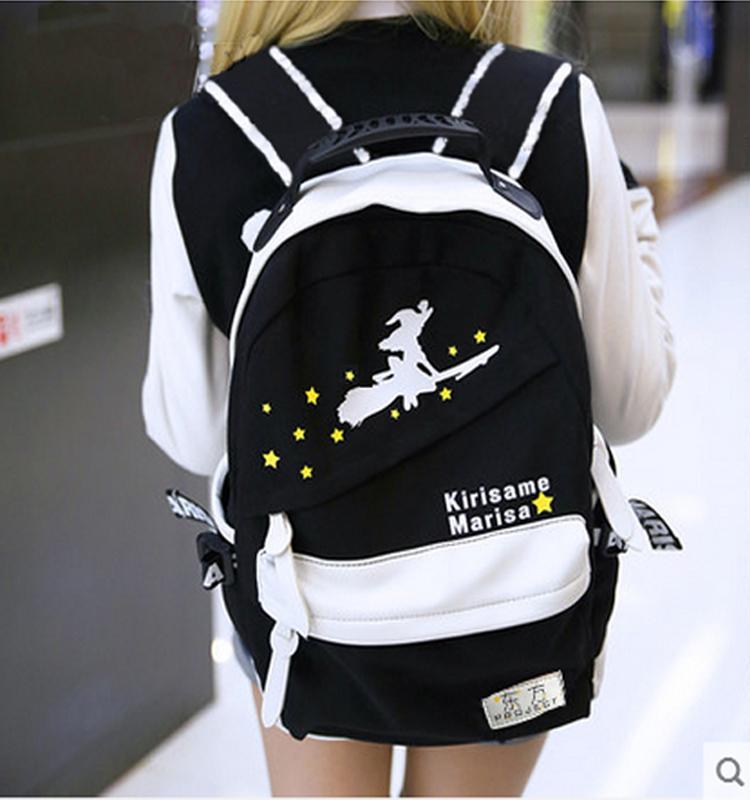 Free shipping TouHou Project Little witch Black and white printing man woman cartoo bags College wind schoolbag Backpacks free shipping korean version candy colors fairy tail logo printing man woman canvas schoolbag red green black blue backpacks