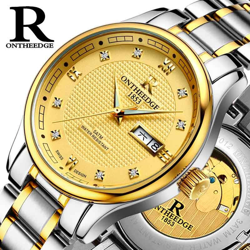 ONTHEEDGE Fashion luxury brand  automatic mechanical watch business luminous watch hollow men watch waterproof steel relogio men yelang v1015 upgrade version khaki number tritium gas yellow luminous men automatic mechanical business watch steel watchband