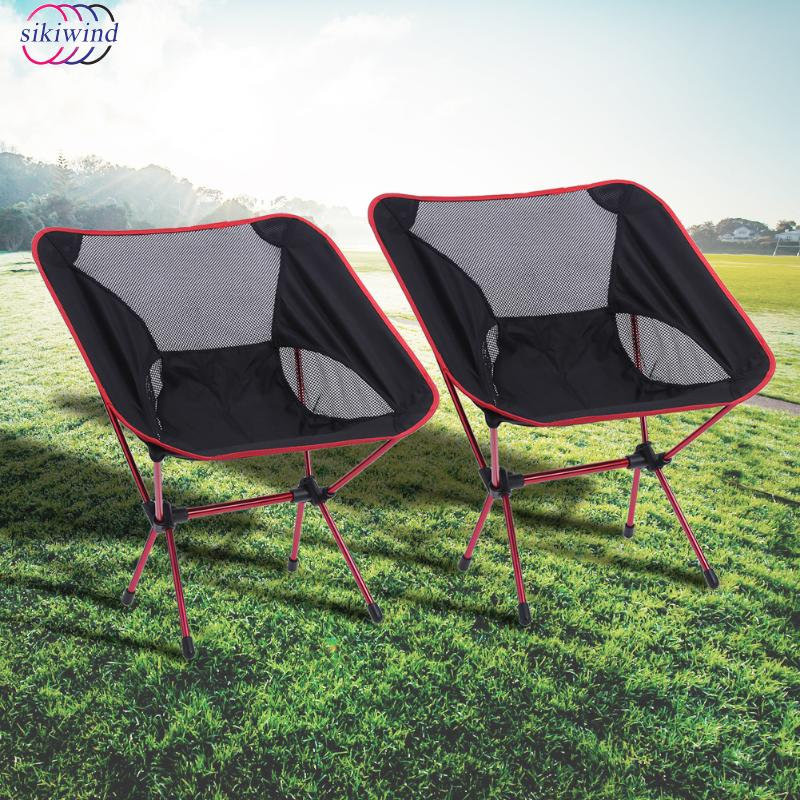 2PCS Portable Folding Camping Chair Outdoor Fishing Seat Ultra-Light Foldable Chairs Seat For Fishing Festival Picnic BBQ Beach 2018 new folding fishing chair portable fishing box light multi purpose backpack beach chairs with retractable feet