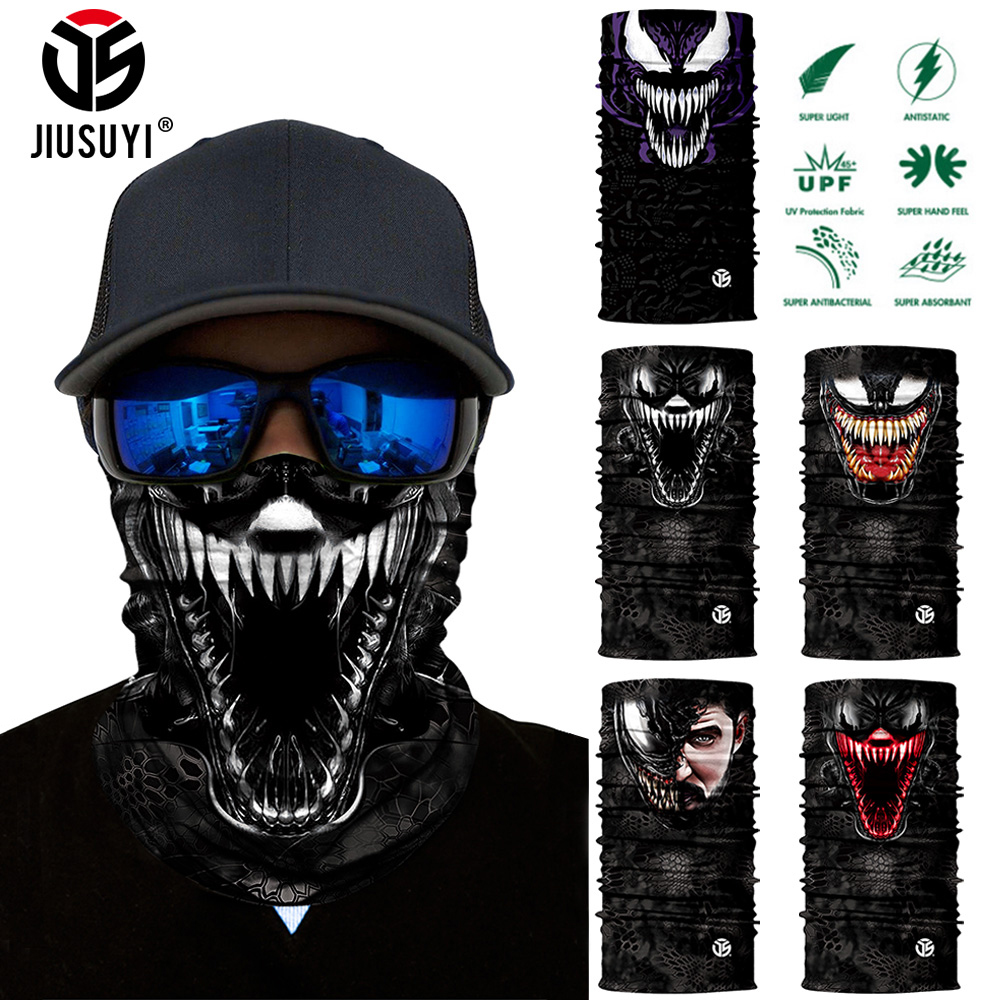 3D Seamless Venom Spiderman Magic Bandana Neck Gaiter Tube Ring Scarves Breathable Sun Mask Face Shield Scarf Bicycle Headband