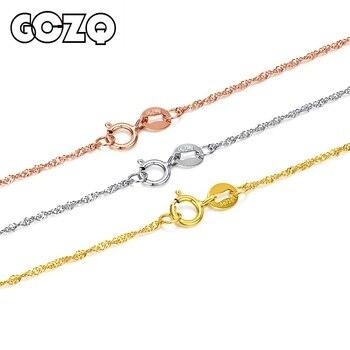 4da18432f337 GCZQ 100% genuino 18 k de onda de agua collar cadena de oro puro collar de  oro para las mujeres longitud ajustable collar