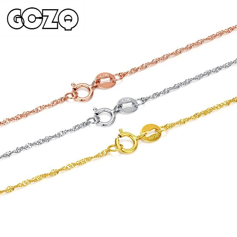 GCZQ 100% véritable collier d'ondulation d'eau 18 K chaîne en or pur collier en or pour femmes collier de longueur réglable