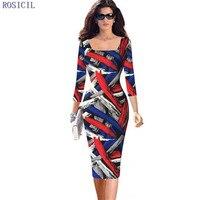 Rosicil nouvelle mode formelle crayon dress femmes élégant solide vintage patch gaine 3/4 travail à manches midi dress