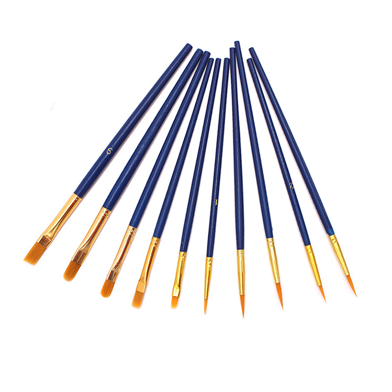 10 Pcs Artists Paint Brush Set Acrylic Watercolor Round Pointed Nylon Tip Hair Multifunction Hook Line Short Pointed Pen