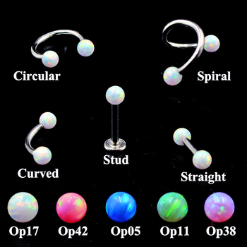 2PCS  Surgical Steel Internally Thread Opal Opal Ear Tragus Cartilage Earring Ear Studs Septum Clicker Nose Eyebrow Lip Ring 16g