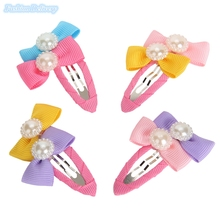 10pcs/lot Korea Style Cute Small Hair Clips Lace Bow Tie Pearl Hairpins BB Clip Girls Kids Hair Styling Tools