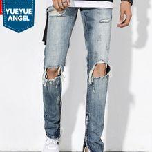 High Street Foro Jeans Strappati per Gli Uomini 2018 Classic Lavato Slim Fit  Pantaloni Cerniera Laterale Autunno Retro Mendicant. 9867bf249e6e