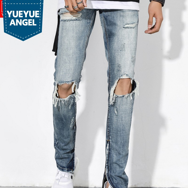 High Street Hole Ripped Jeans For Men Classic Washed Slim Fit Side Zipper Trousers Autumn Retro Beggar Pants Men Streetwear