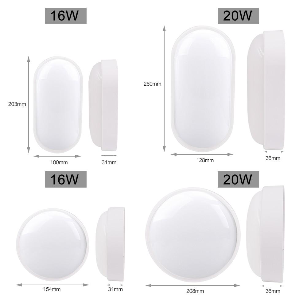 16 20W LED Moistureproof Lamp AC85 265V Wall Light 2835 Ceiling Spotlight Bathroom Living room Door Corridor Lighting Oval Round in LED Indoor Wall Lamps from Lights Lighting