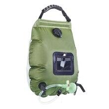 Водяные сумки для походов на открытом воздухе, Походные солнечные сумки для душа, 20 л, нагревательные сумки для кемпинга, сумка для душа, шланг, переключаемая душевая головка, Прямая поставка 2019