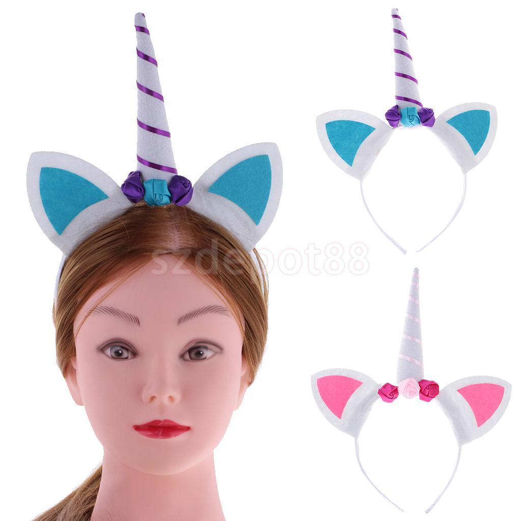 2pcs Unicorn Horn Headband Fancy Dress Costume Adults Kids Girls Party Hen Night Party Headwear Special Gift