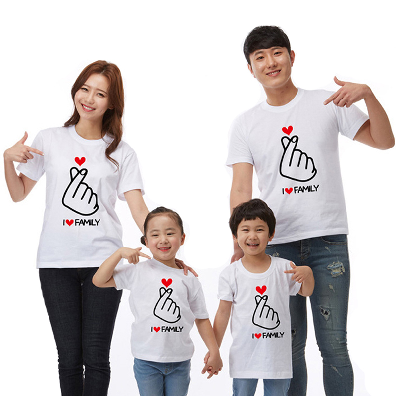 Family Clothing Letter I LOVE Family Matching Clothes Matching Outfits Clothes 2019 Summer