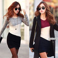 New Autumn Women Casual Long Sleeve 3 Colors Patchwork Blouse Shirt Long Bodycon Knitted Shirts Winter  Tops