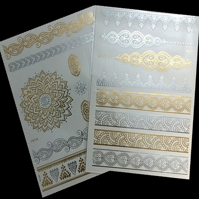 2Pc/lot Flash Gold Tattoo Body Art Tattoos Metallic Henna Fake Tatoo Temporary Stickers Arabic Golds Glitter Large For Women