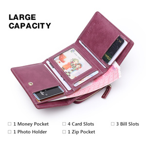 Image 5 - LAORENTOU Genuine Leather Ladies Money Bag Female Short Wallet Casual Card Holder Clutch Bag For Women Coin Purse Mothers Gift