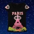 2016 New Summer View of Paris Graphic Tees Women Rhinestone Design T Shirt Women Femme Letter Print Cotton Tops for Women 8212